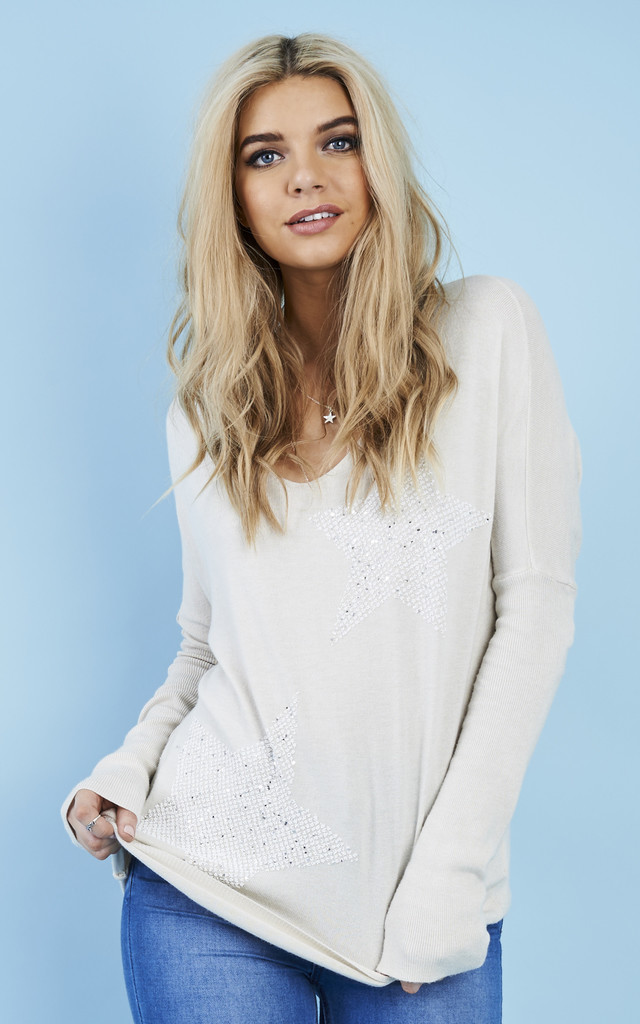 V-Neck Glitter Star Jumper Oatmeal by Lilah Rose