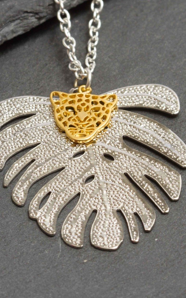 Tropical Tiger Palm Leaf Necklace by LHG Designs