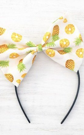 White Pineapple Oversized Bow Headband by LULU IN THE SKY