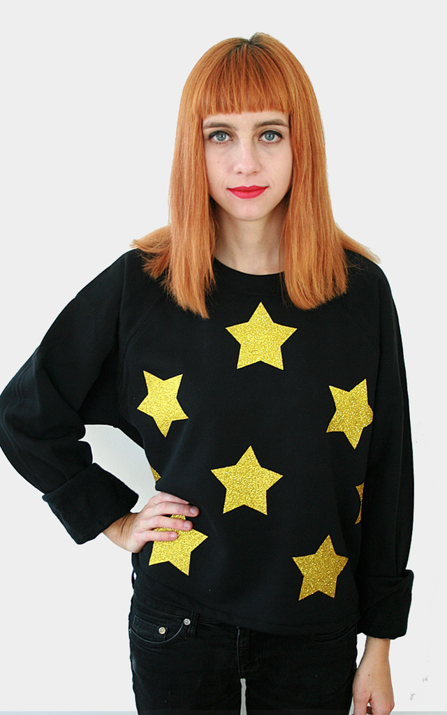 Gold Glitter Star Sweater by Tallulah's Threads