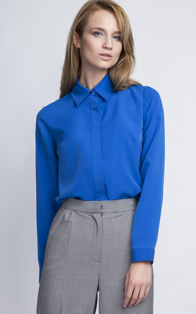 Indigo shirt with long sleeves by Lanti