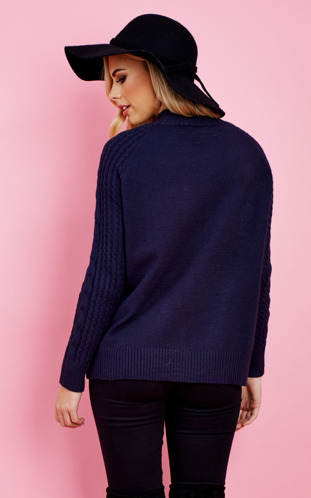 NAVY LONG SLEEVE CHUNKY KNIT CARDIGAN by Aftershock London