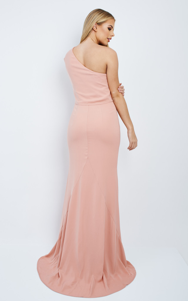 Laura Nude Pink One Shoulder Maxi Dress Jarlo Silkfred