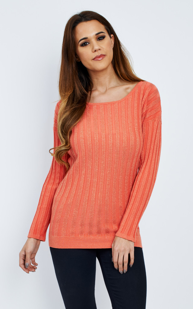 CORAL RIBBED KNIT LONG SLEEVED JUMPER by Aftershock London