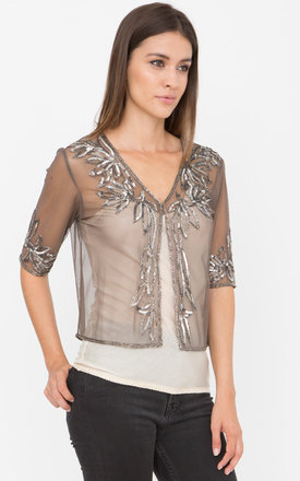 Embellished Sequin And Bead Bolero Silver by likemary