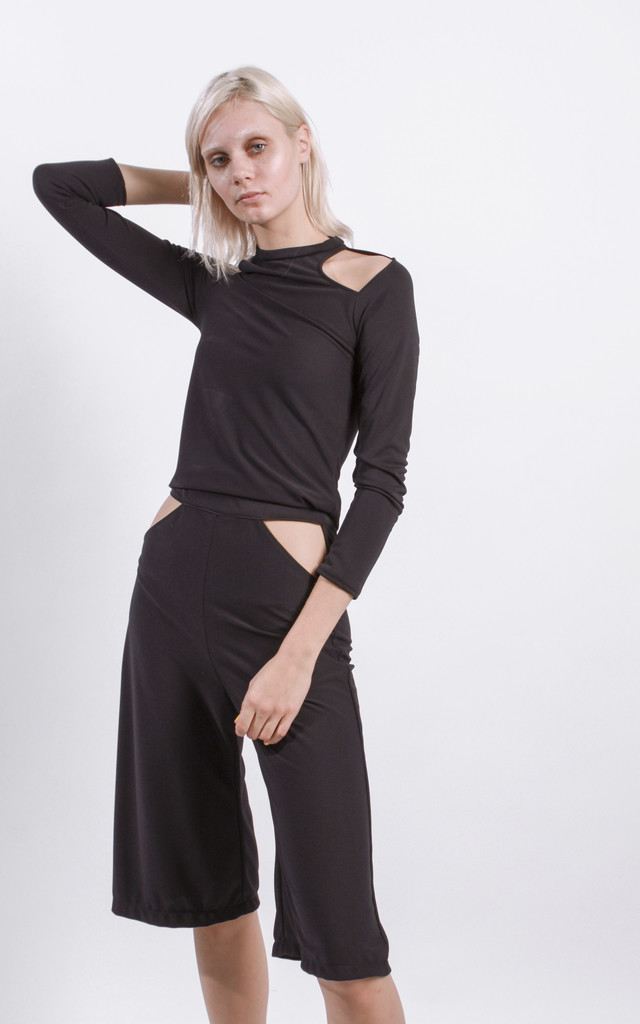 Black Cold Shoulder Cut Out Top by STUDIO LBW
