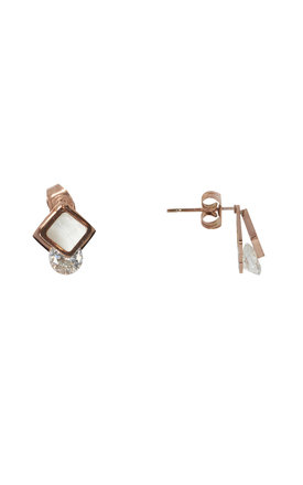 Mother Of Pearl With Cubic Stud Earrings by DOSE of ROSE