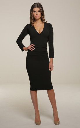Kelsey Black Bodycon Midi Dress With Exposed Gold Zip by Honor Gold