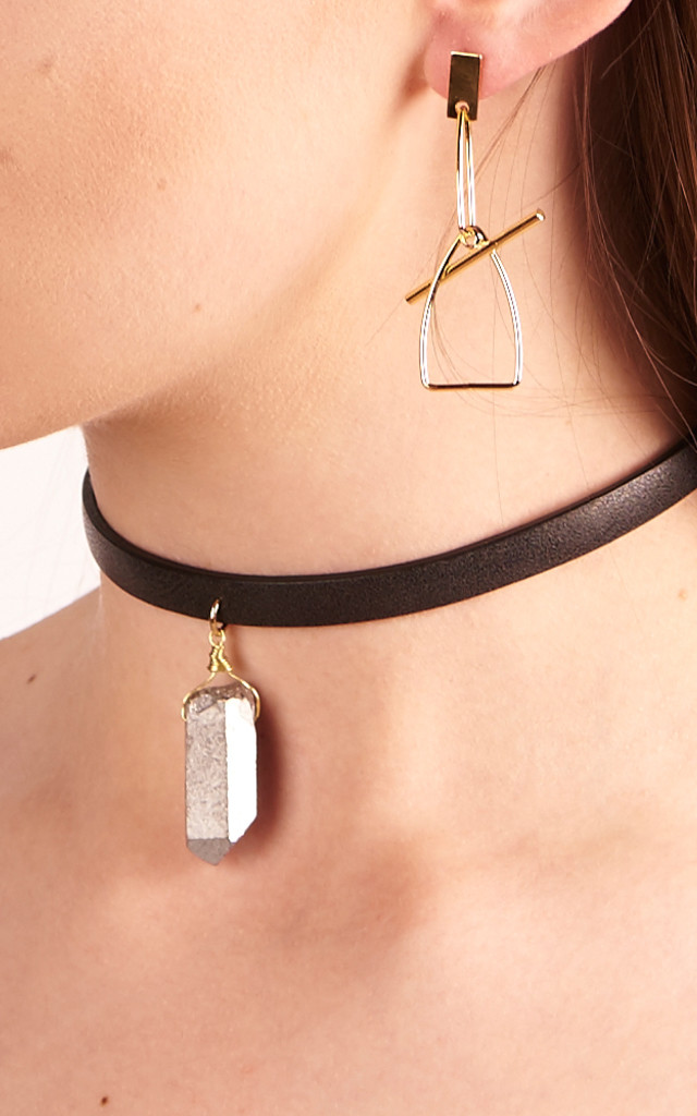 Black Leather Choker With Semi-Precious Stone by DOSE of ROSE