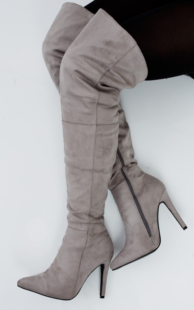 Grey Over The Knee Boots With Stiletto Heel by Truffle Collection
