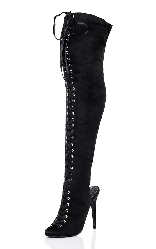 RAGGED Lace Up Peep Toe High Heel Stiletto Thigh Boots - Black Suede Style by SpyLoveBuy
