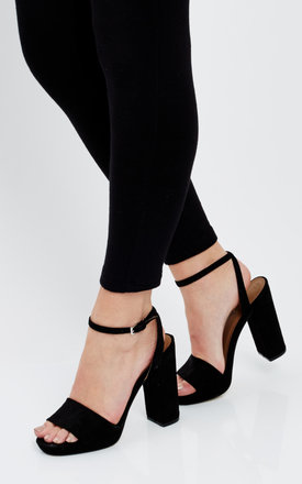 Black Suede Sandals with Wedge Heel by Truffle Collection