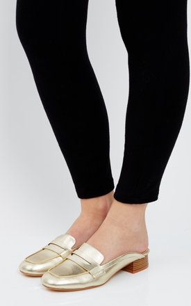 Gold Backless Loafers by Truffle Collection Product photo