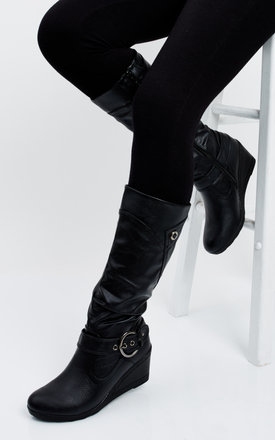 Black Boots with Wedge Heel by Truffle Collection