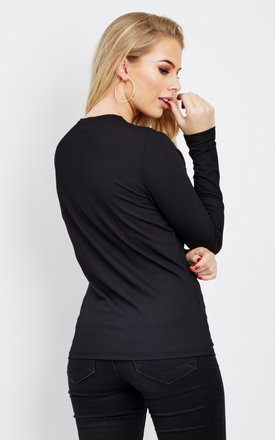 Isabel black long sleeve top by Noisy May
