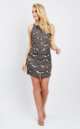 Charcoal sleeveless sequin detail mini dress by Glamorous