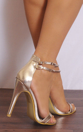 Gold Metallic Barely There Peep Toes Strappy Sandals Stilettos High Heels by Shoe Closet