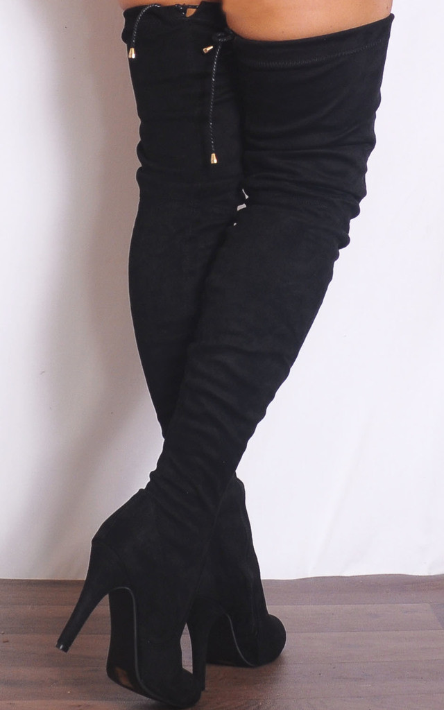 Black Thigh High Over the Knee Boots High Heels by Shoe Closet