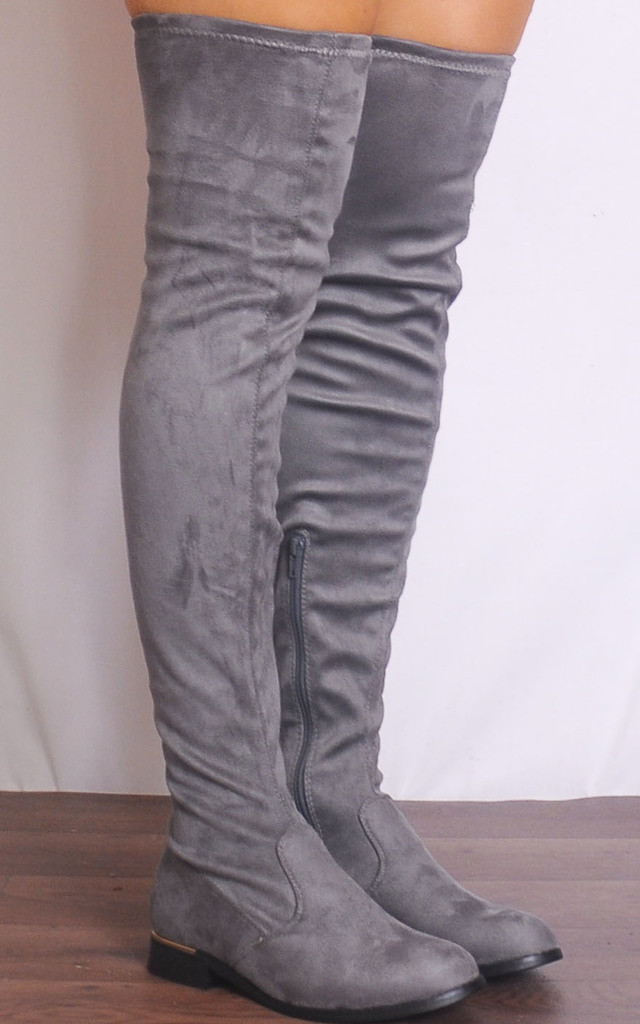 Grey Thigh High Over The Knee Flat Stretch Boots by Shoe Closet