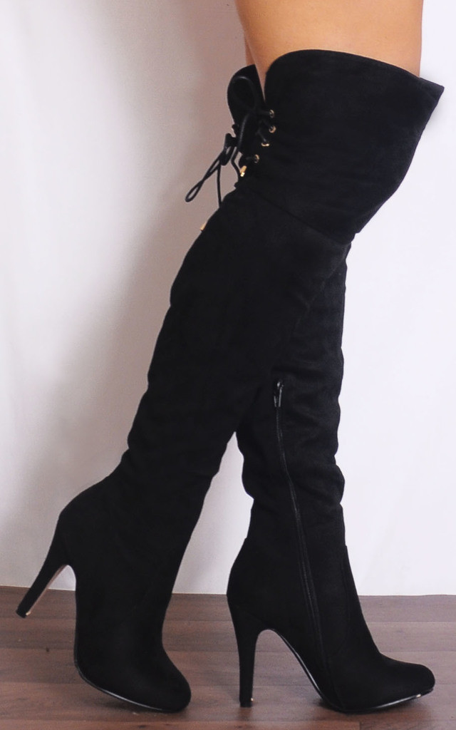 Black Over the Knee Tie Boots Stilettos High Heels by Shoe Closet