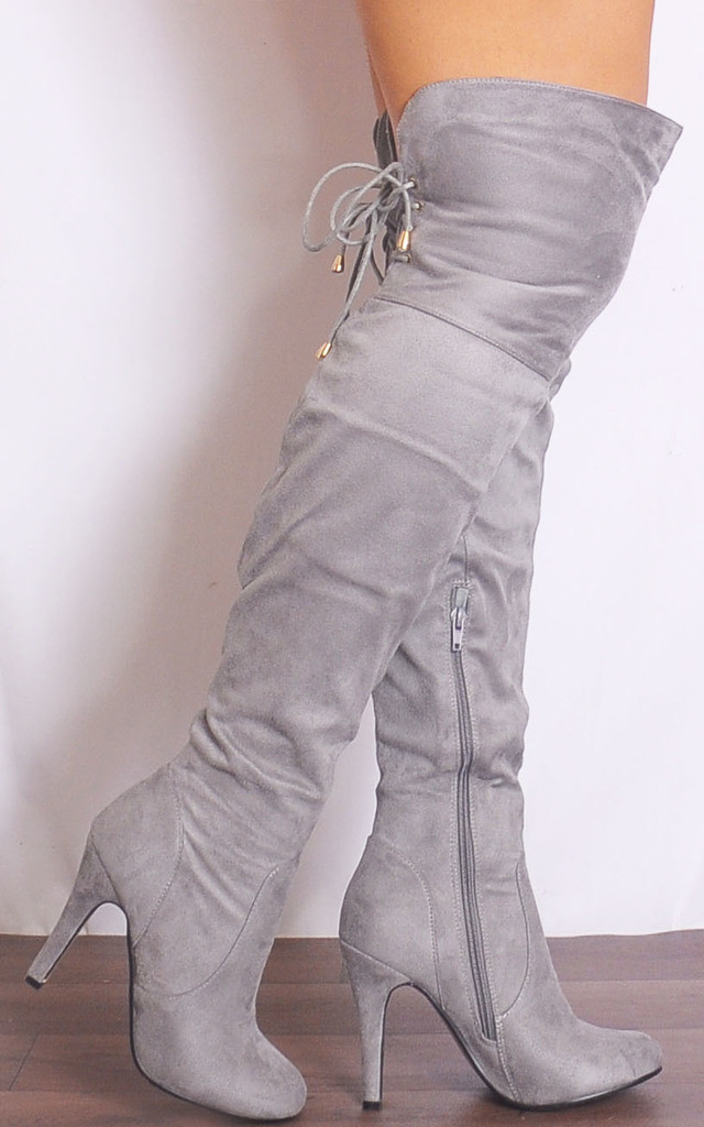 Grey Over the Knee Boots High Heels by Shoe Closet