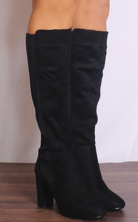 Black Faux Suede Knee High Boots by Shoe Closet