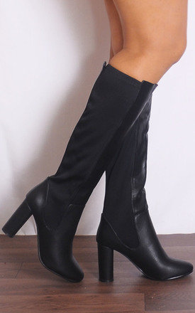 Black Pu Leather Elastic Knee High Boots by Shoe Closet