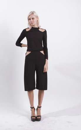 Black Cut Out Culottes by STUDIO LBW
