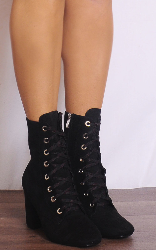 Black Lace Ups Eyelet Ankle Boots High Heels by Shoe Closet