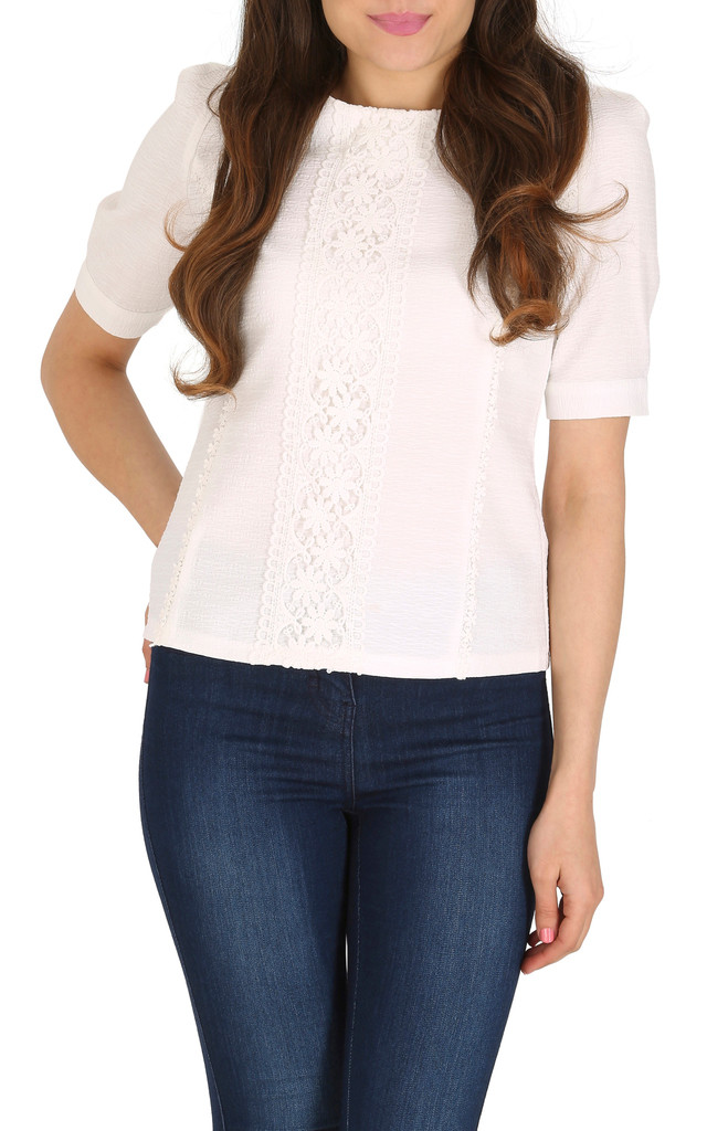 Puff Sleeve Lace Top by Cutie London