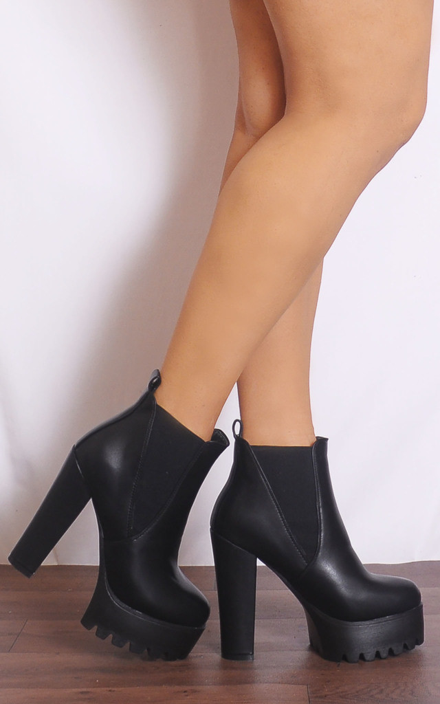 Black Pu Leather Cleated Platforms Chelsea Ankle Boots by Shoe Closet