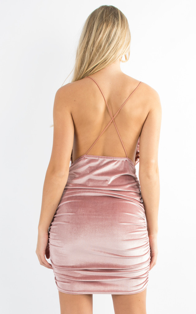 Ruched Velvet Cowl String Bodycon Dress Pink by Npire London