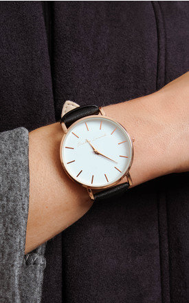 Black Leather Strap Rose Gold Watch by Pretty Lavish Product photo