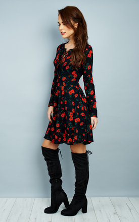 Long Sleeve Lace Up Dress in Spanish Floral by Glamorous