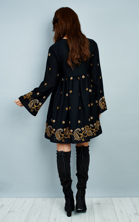 Black embroidered smock dress by Glamorous