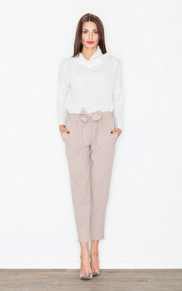 Beige bow belted trousers by FIGL