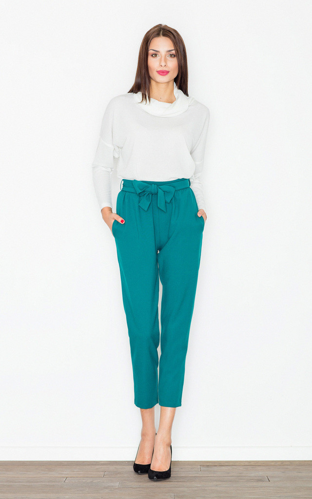 Green bow belted trousers by FIGL
