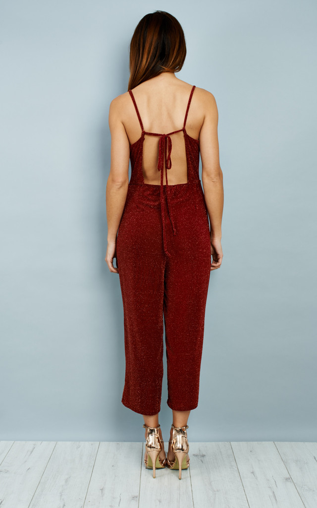 Culottes Tie Back Jumpsuit -Wine by Npire London