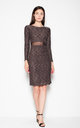 Brown Sweater dress with a transparent strip by Venaton
