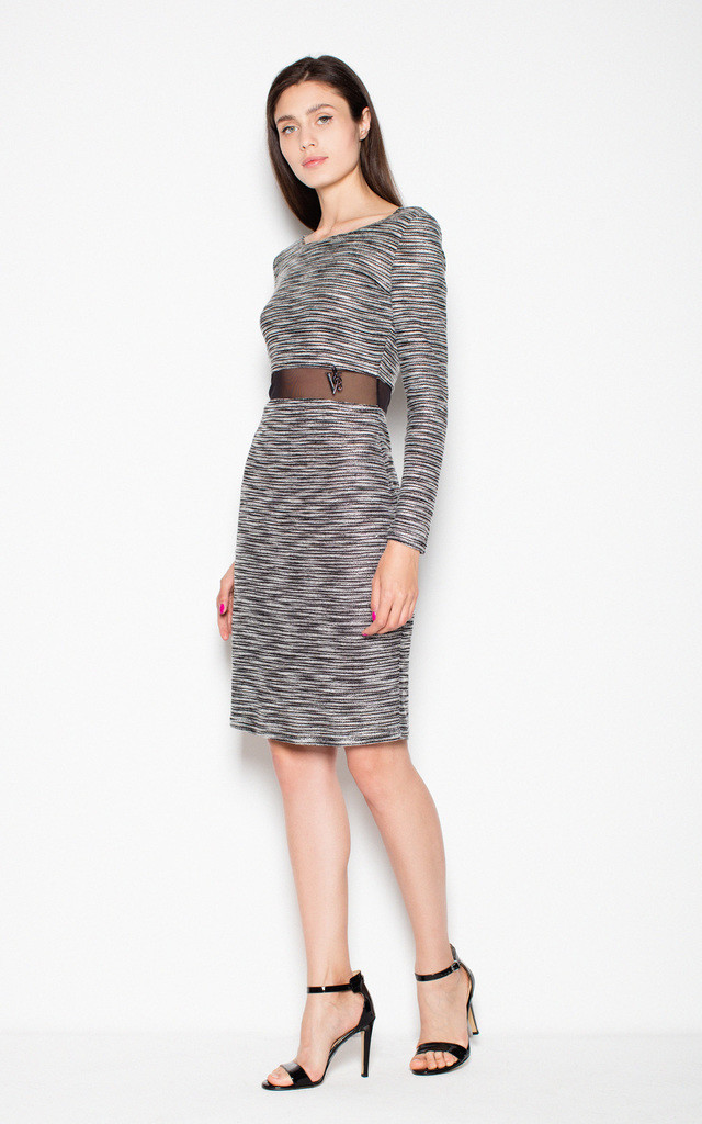 Grey Sweater dress with a transparent strip by Venaton