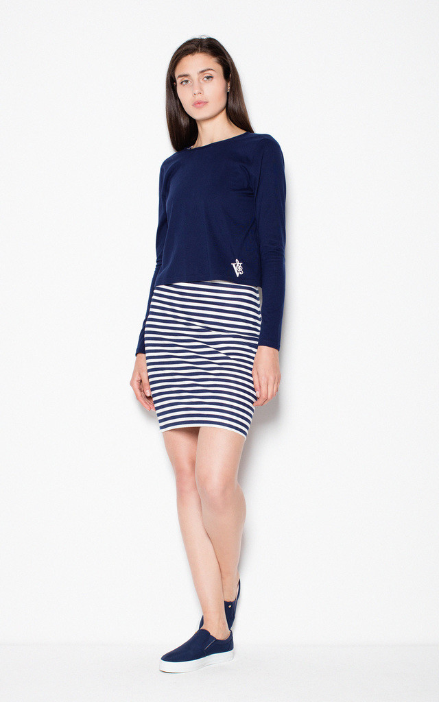 Stripe Cotton dress with a throw jacket by Venaton