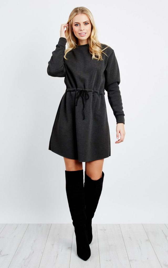 Long Sleeve Fleece Dress - Charcoal Grey by Npire London