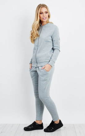 Bomber Jacket Trouser Co-Ord - Silver Grey by Npire London