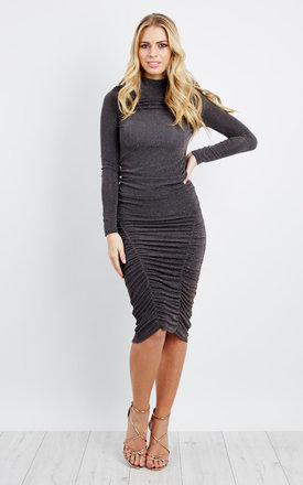 Grey Gold Side Ruched Midi Dress by Npire London