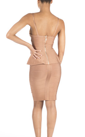 'Amina' Peplum Bandage Two-Piece Dress in Cafe au Lait by Shades of Mia Mina