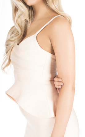 'Amina' Peplum Bandage Two-Piece Dress in Champagne Blush by Shades of Mia Mina