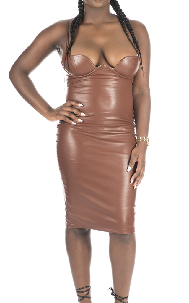 Mya Leather Look Midi Dress In Mocha Silkfred