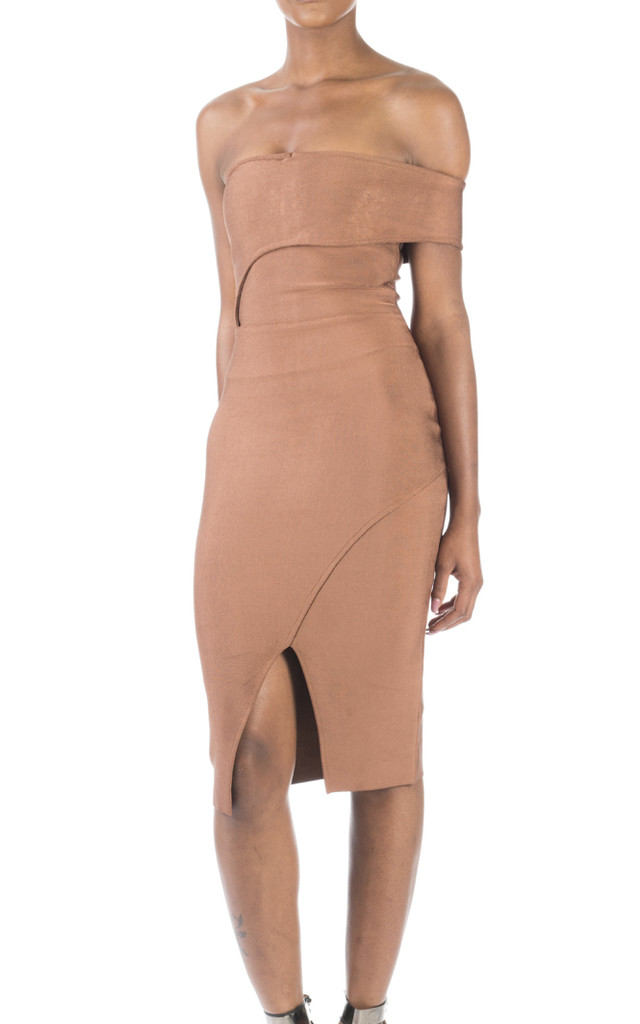 'Nala' Off The Shoulder Bandage Dress in Chestnut by Shades of Mia Mina