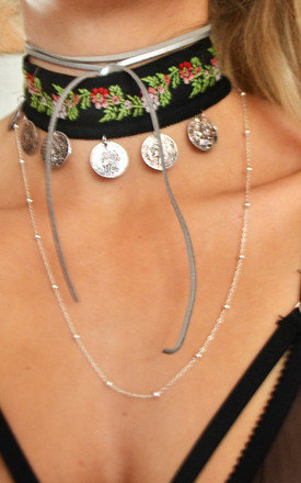 Metallic Silver Faux Leather Bolo Wrap Necklace by Wanderdusk