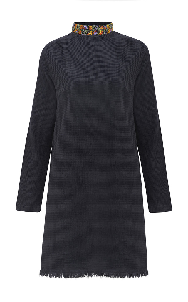 Jimi Black Corduroy Side Slit Embroidered Collar Mini Dress by ILK+ERNIE